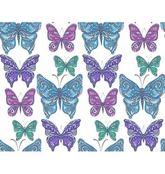 Seamless pattern with hand drawn flying vector image