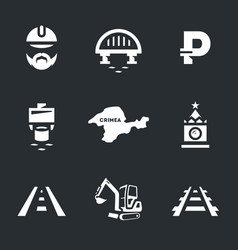Set of bridge building icons vector