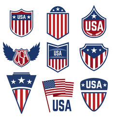 Set of emblems with american symbols usa flag vector