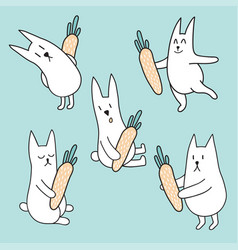 Set of rabbits with carrots vector