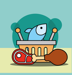 shopping basket fish chicken and meat vector image