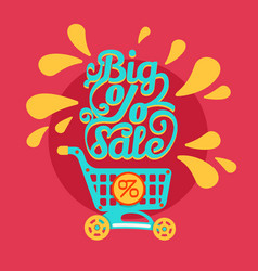 shopping cart with percent discounts and sale text vector image