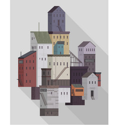 small urban town with buildings vector image