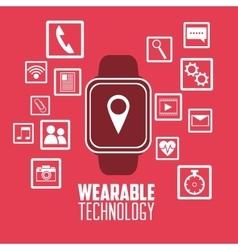 Smart watch social media wearable technology pink vector