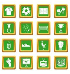 Soccer football icons set green vector