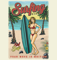 surfing colorful vintage poster vector image