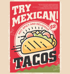 tasty mexican tacos with delicious ingredients vector image
