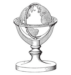 Terrestrial globe or artificial sphere vintage vector