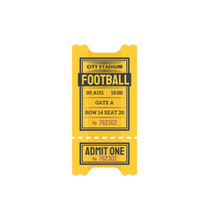 Ticket on football or soccer game card vector