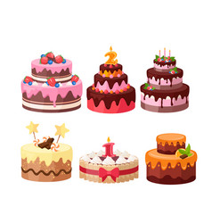 Tiered cakes colorful flat vector
