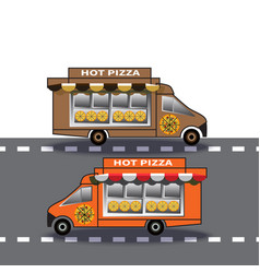 Two delivery truck pizzas drive down highway vector