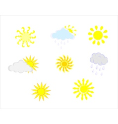 various sun and cloud icons vector image