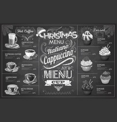 Vintage chalk drawing christmas coffe menu design vector