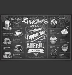 Vintage chalk drawing christmas coffe menu design vector