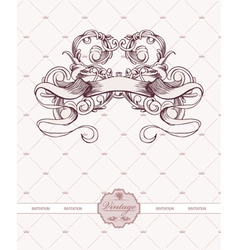 Vintage label with ribbon and floral vector
