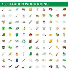 100 garden work icons set cartoon style vector image