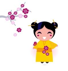 asia girl kimono vector image vector image