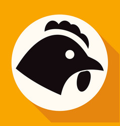 chicken icon on white circle with a long shadow vector image vector image