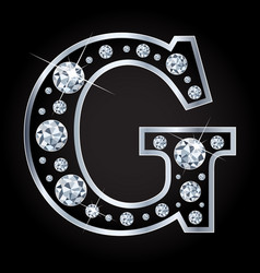 g letter made with diamonds isolated on vector image