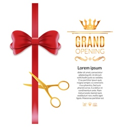Grand opening red ribbon and bow open ceremony vector