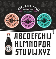 Craft beer label and sanserif font vector image vector image