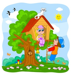 Cute kids on Treehouse vector image vector image