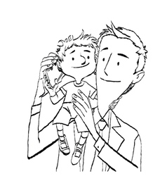 Dad and son talking on the smartphone vector image