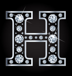 h letter made with diamonds isolated on vector image