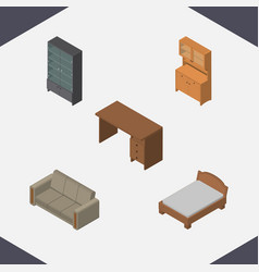 isometric design set of cupboard couch table and vector image