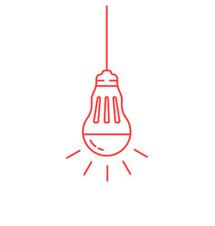 Red thin line led bulb vector