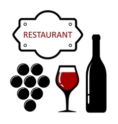 restaurant icon with grapes and wine glass vector image