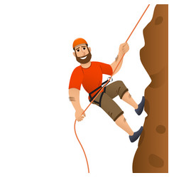 rock climber man commits to rise the steep slope vector image