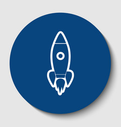 rocket sign white contour vector image