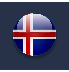 Round icon with flag of Iceland vector image vector image