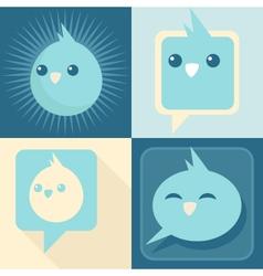 Blue Retro Birds vector image vector image