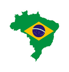 brazil outline and flag vector image vector image