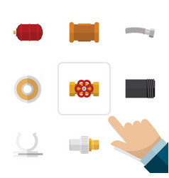 flat icon industry set of pipe industry roll and vector image vector image
