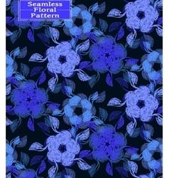 Floral seamless pattern dark blue tone vector