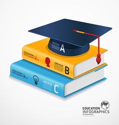 infographic Template book and Graduation cap vector image vector image