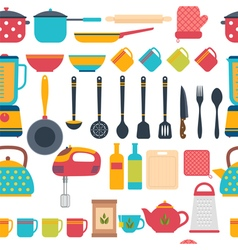 Cooking utensils background Seamless pattern with vector image vector image