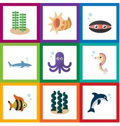 flat icon nature set of playful fish seashell vector image vector image