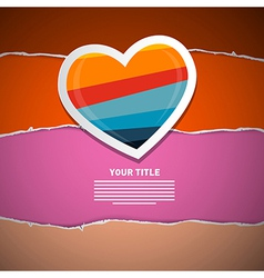 Retro Paper Heart on Torn Paper Background vector image