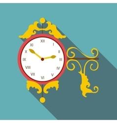 Street clock icon flat style vector