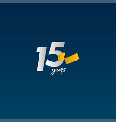 15 years anniversary celebration white blue vector