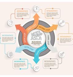 6 step arrow circle infographics template vector