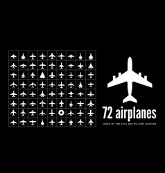 72 civil and military aircraft icons on black vector image