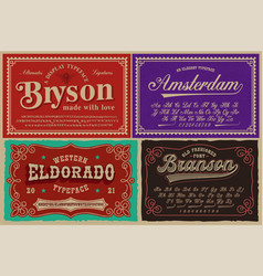 a set different fonts in retro style vector image
