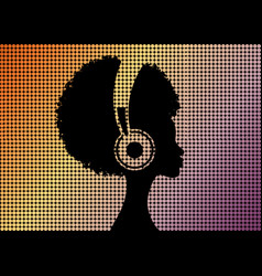 Afro curly girl listens to music on headphones vector