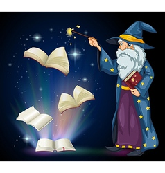 An old wizard holding a book and a wand vector