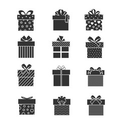 black gift box icons presents signs with ribbons vector image